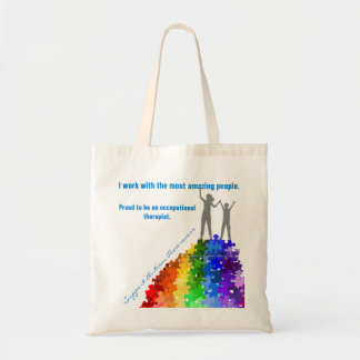 Autism Support Climbing New Heights Woman & Boy Tote Bag