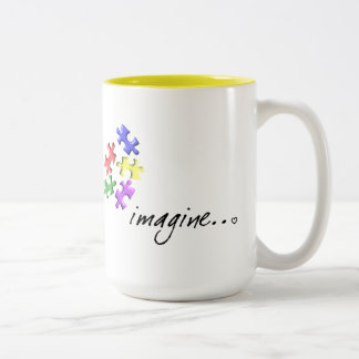 """Autism Support Gifts """"Imagine"""" Design Two-Tone Mug"""