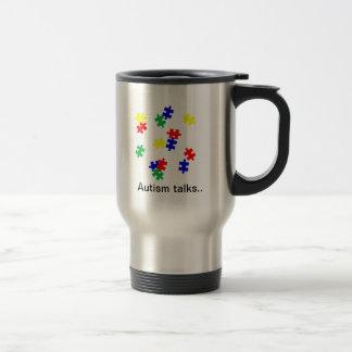 Autism Talks , travel mug...puzzle pieces Stainless Steel Travel Mug