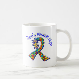 Autism There's Always Hope Floral Basic White Mug