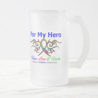 Autism Tribal Ribbon Hero Frosted Glass Mug