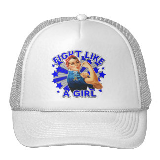 Autism Vintage Rosie Fight Like A Girl Mesh Hats