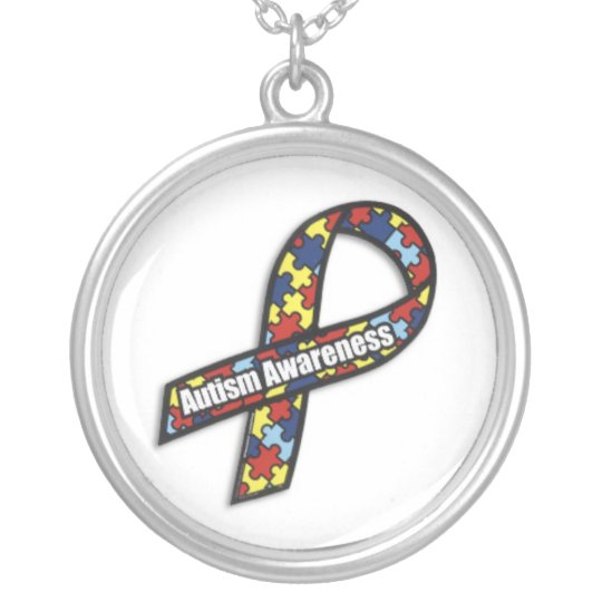 AutismRibbon Silver Plated Necklace