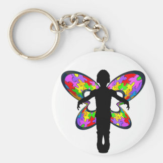 Autistic Butterfly Ribbon Basic Round Button Key Ring