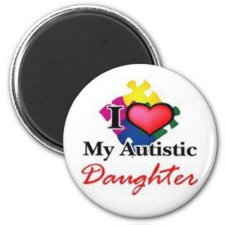 autistic daughter 6 cm round magnet