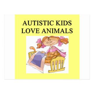 autistic kids kove animals postcard