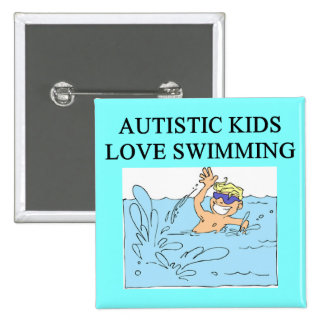 autistic kids kove swimming pinback button
