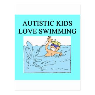 autistic kids kove swimming postcard