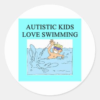 autistic kids kove swimming round sticker