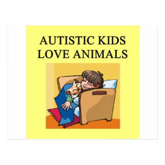 autistic kids love animals postcard