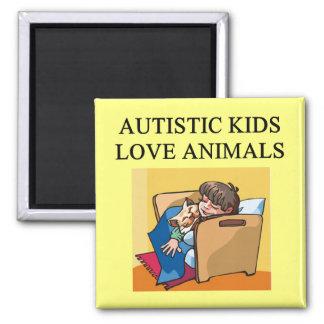 autistic kids love animals square magnet