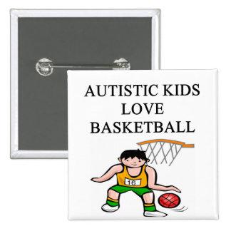 autistic kids love basketball 15 cm square badge