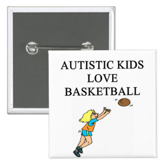 autistic kids love basketball 15 cm square badge