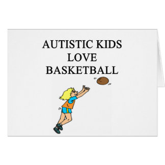 autistic kids love basketball greeting card