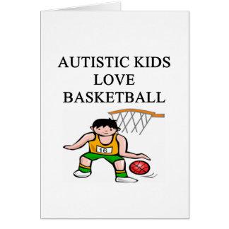 autistic kids love basketball greeting card
