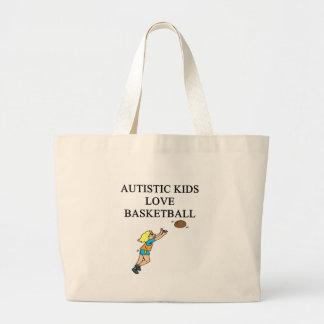 autistic kids love basketball jumbo tote bag