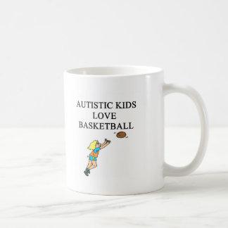 autistic kids love basketball coffee mug