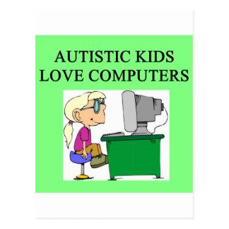 autistic kids love computers postcard