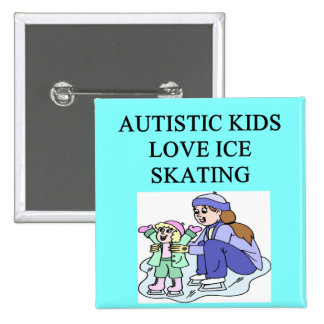 autistic kids love ice skating 15 cm square badge