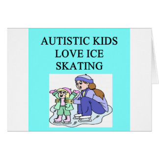 autistic kids love ice skating greeting card