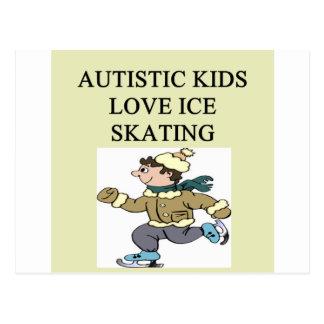 autistic kids love ice skating postcard