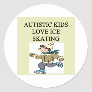 autistic kids love ice skating round stickers