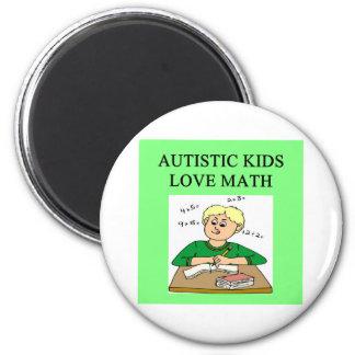 autistic kids love math 6 cm round magnet
