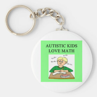 autistic kids love math basic round button key ring