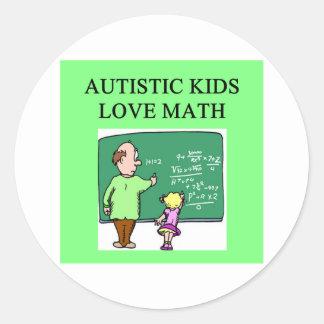 autistic kids love math round stickers