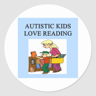 autistic kids love reading round stickers