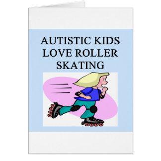autistic kids love roller skating greeting card