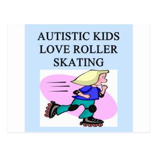 autistic kids love roller skating postcard