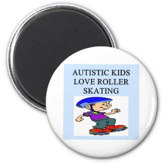 autistic kids love rollerskating 6 cm round magnet