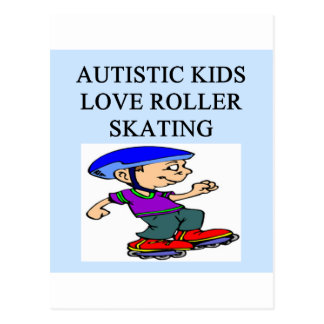 autistic kids love rollerskating postcard