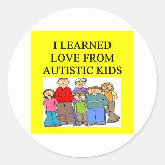 autistic kids love round sticker