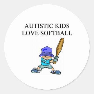 autistic kids love softball round stickers