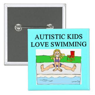 autistic kids love swimming 15 cm square badge