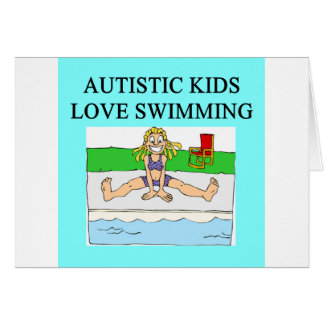 autistic kids love swimming greeting card