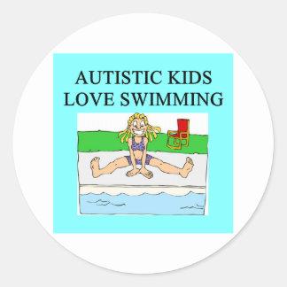 autistic kids love swimming round sticker