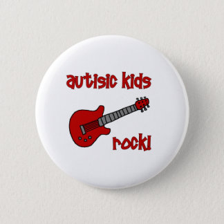 Autistic Kids Rock with Guitar (multiple colors) 6 Cm Round Badge