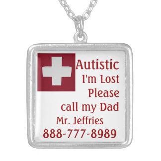 Autistic Lost, Please Call Square Pendant Necklace