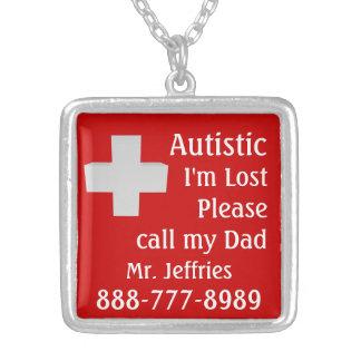 Autistic Lost Please Help Square Pendant Necklace