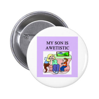 autistic son and mother 6 cm round badge