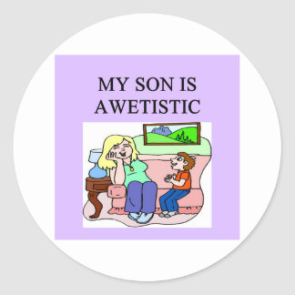 autistic son and mother round sticker