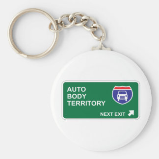 Auto Body Next Exit Basic Round Button Key Ring