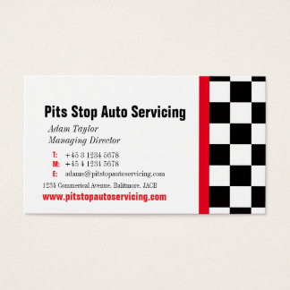 Auto motor servicing pit stop red business card