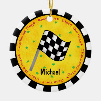 Auto Race Fan Checkered Flag Name Year Customized Christmas Ornament