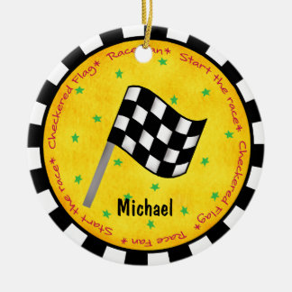Auto Race Fan Checkered Flag Name Year Customized Round Ceramic Decoration