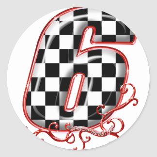 auto racing 6 in  red classic round sticker