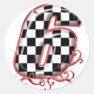 auto racing 6 in  red round sticker